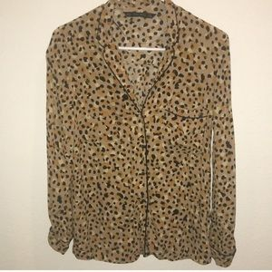Zara Basic Leopard Print Blouse
